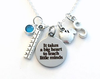 Gift for Teacher Necklace, Principal Jewelry, School Kindergarten It takes a big heart to teach little minds charm, EA TA Initial Birthstone