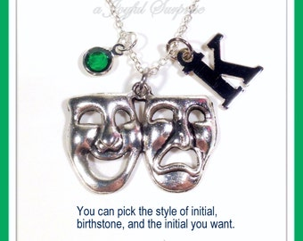 Theater Necklace, Musical Jewelry, Actress Actor Gifts, Drama Mask Symbol Charm comedy tragedy mask Pendant gift initial birthstone her him
