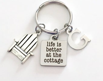 Life is better at the Cottage KeyChain Cabin Key Chain Gift for Dad Mom Grandfather Keyring Jewelry charm Silver Initial present Man Men boy