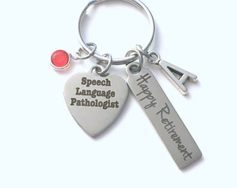 Retirement Gift for Speech Language Pathologist Keychain, SLP Therapist Key Chain, Therapy Keyring, him her men women present Initial Letter