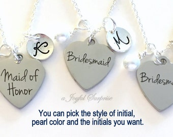 Bridal Party Necklaces, Bridesmaid Jewelry, Maid of Honor, Set of 3, Matron Honour Gift for Wedding Party Gift Initial Wedding Color Pearl