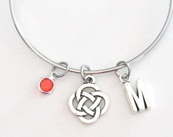 Celtic Knot Charm Bracelet, Celtic Circle Bangle, Gift for Women Jewelry Personalized Silver adjustable initial birthstone Birthday Present