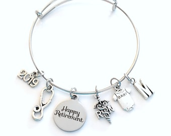 Pediatric Nurse Retirement Gift 2019, RN Charm Bracelet Boss Jewelry Silver Bangle Coworker initial women initial custom Present her