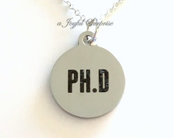 Ph D Jewelry, PHD Necklace, Doctor Jewelry Gift for Doctorate Graduation Gift PHD Charm Graduate For Man Men birthday gift Christmas present