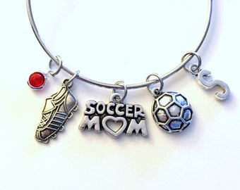 Soccer Mom Bracelet, Soccer Jewelry Charm Bangle Shoe Sneaker Cleat Ball Team Silver initial Gift for Teenage Daughter Teen Girl birthstone