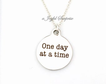 AA Necklace, One Day at a Time Jewelry, Gift for Sponsor Present, Alcoholics Anonymous Recovering Addicts Charm Pendant Men her him women