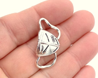 Medical Mask Charm / Silver Face Mask Charm / 1 Silver Pendant/ Add on Gift for Doctor Nurse Hospital Staff / Dentist Dental Present