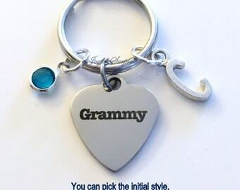 Grammy KeyChain, Gift for Grandmother Keyring Key chain Personalized Initial Birthstone birthday Christmas present Grammie Mimi Meme Nana