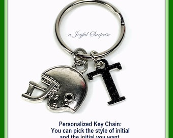 Football Gifts, Helmet Key Chain, Foot Ball Keychain, Athlete Keyring, Rugby Coach Birthday Thank you Present initial letter Man Men her him