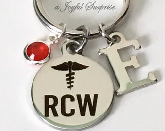 Personalized RCW Keychain Keyring, Stainless Steel Key Chain Gift for RCW Present, Resident Care Worker Silver initial letter Birthstone