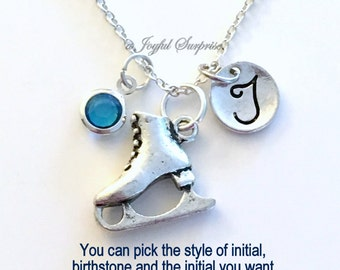 Figure Skate Necklace, Skating Jewelry Gift for Skater Mom Initial Birthstone Teenage Girl Teen Coach birthday Christmas present Thank you