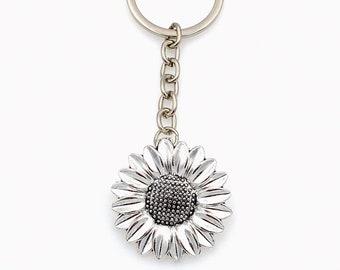 Sunflower Key Chain, Large Sun Flower Keychain, Gift for Gardener, Fall BFF Keyring, Florist Birthday Present, Best Friend Nature her him