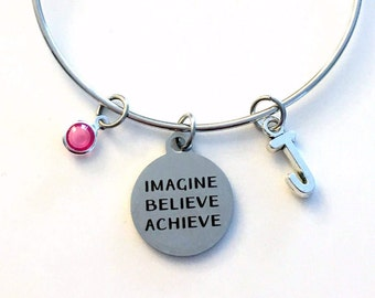 Imagine Believe Achieve Charm Bracelet, Motivational Jewelry Best Friend Bangle Pendant initial Birthstone Birthday Present BFF women Woman