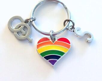 Male Pride Symbol KeyChain, Rainbow Heart Gift for LGBTQ Keyring Same Sex Gay Key Chain Lesbian Bisexual Female Initial birthday present him