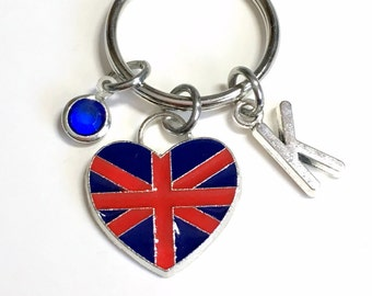 UK KeyChain, United Kingdom Flag Key Chain, Union Jack Keyring, Gift for New Citizen Birthday Present silver pewter initial Britain Charm