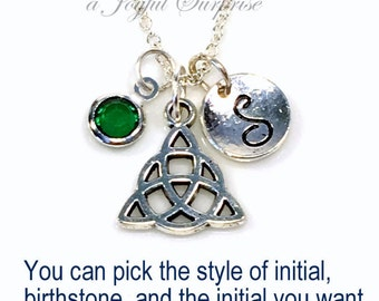 Celtic Triangle Necklace, Silver Celtic Knot Jewelry, Gift for Catholic Wedding, Pewter Charm Pendant Custom Birthstone Initial Mother's Day
