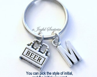 Beer Key Chain, Six Pack of Beer KeyChain Beer Keyring Gift for Boyfriend Anniversary Husband Dad Father Birthday Christmas silver initial