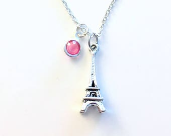 Birthstone Eiffel Tower Necklace, Paris Jewelry, Personalized Traveler Gift, France Souvenir Teenager Girl Birthday Present Girlfriend BFF