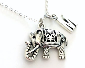 Elephant Jewelry, Charm Necklace, Ornate Silver Gift, Indian Filigree initial letter Long Short Chain Pewter Pendant Sterling Silver Man 136