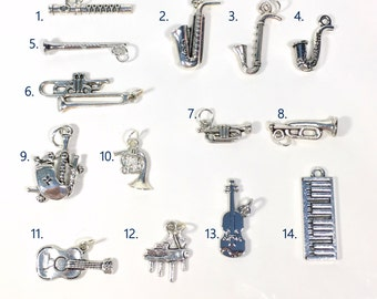 Music Charm, Your choice of Music Instrument Charm, Saxophone, Violin, Music Note, Keyboard, Headphone, Piano- 1 Silver Pendant