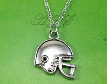 Football Helmet Necklace, Father's Day Gift, Foot Ball Dad Present, Silver Rugby Jewelry, Mens Man Boy Mom Dad brother Sister Uncle teen boy