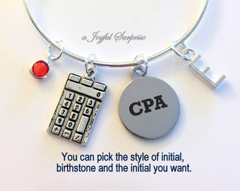 Gift for CPA Jewelry Charm Bracelet Bangle Chartered Accountant present Accounting School Student Silver birthstone initial calculator girl