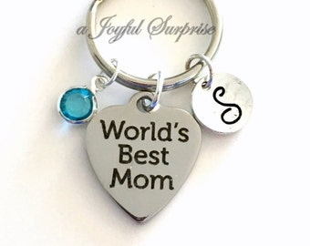 World's Best Mom Keychain, Mother's Day Gift, Grandmother Keyring, Mama Key Chain Gift for Wife Custom Birthstone Initial Personalized New