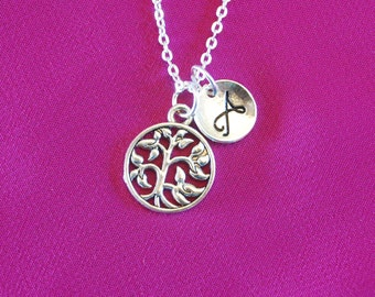 Tree of Life Necklace,  Family Jewelry, Silver Charm Pendant, Gifts for mom with initial monogram personalized Grandmother Wife from son