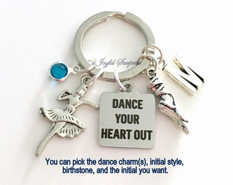 Ballet Dance Keychain, Ballerina Key Chain Silver Slipper Shoe Dancer Keyring Dancing Gift Jewelry charm Dance Your Heart Out Custom present