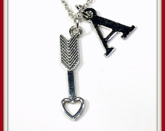 Arrow Necklace, Gift for Girlfriend, Silver Heart Tip Charm Jewelry, Valentines Day, Cupid Present Pendant Personalized Initial letter wife