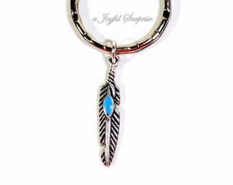 Silver Feather Keychain, Peacowl Bird Key chain, Peacock Keyring Pendant Pewter Charm Jewelry Gift Men Man Native American Purse planner