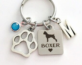 Boxer KeyChain Breeder Key Chain Gift for Dog Mom Keyring Doggie Puppy Jewelry charm Silver Initial Birthstone present Man woman Women Men