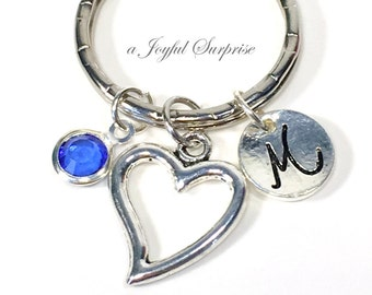 Mother's Day Gift, Open Heart Keychain Present, Mom Daughter Silver Keyring Charm Love key chain purse planner Aunt Niece her Valentines Day