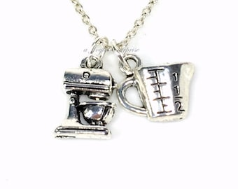 Baker's Necklace, Silver Baking Jewelry, Gift for Baker Gift, Measuring Cup Charm, Food Mixer Necklace, Chef's Necklace, Chef Jewelry