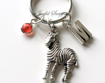 Zebra KeyChain, Zebra Animal Key chain Striped Zebra Keyring Jewelry Personalized Initial Birthstone birthday present Christmas Gift silver