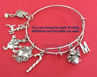 Christmas Charm Bracelet, Snowman Jewelry, Gift for Niece Girl Daughter Present Bangle Silver initial Birthstone Present letter custom teen