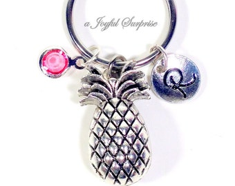 Pineapple Keychain, Pine apple Keyring, Fruit Silver Gift for Fertility Good luck Food Key Chain initial birthstone her ttc Personalized ivf