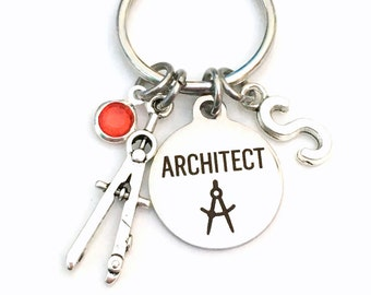 Gift for Architect KeyChain, Architectural Technology Student, Architecture Key Chain Keyring Initial letter present birthstone men women