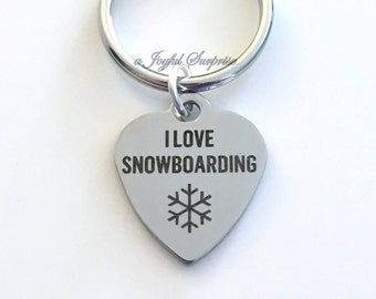 Snowboarding Key Chain Snow Boarder's Keyring I love Snowboard Key chain Gift Brother Son Snow Boarding Sports birthday present Christmas