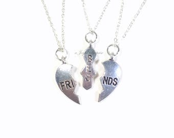 Clearance SALE - BFF Necklace Set of 3 Best Friend Jewelry Gift for Bridesmaid charm birthday Christmas present Long short chain silver