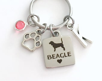 Beagle KeyChain Hound Breeder Key Chain Gift for Dog Mom Keyring Doggie Puppy Jewelry charm Silver Initial Birthstone present Men women