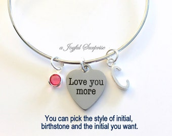 Love you More Jewelry, Daughter's Charm Bracelet Gift for Mom Silver Bangle Personalized Initial Birthstone birthday gift Christmas present