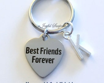 Best Friends Forever Key Chain BFF KeyChain Gift For Guy Friend Man Keyring Birthday Present Initial Monogram Custom Letter