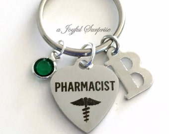 Pharmacist Key Chain, Rx KeyChain, Gift for Pharmacy Grad, Graduation Present, Retirement Keyring, initial Birthstone Silver stainless steel
