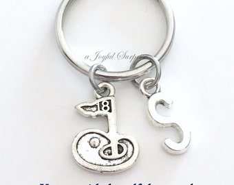 Golf Keychain, Golfer's Key Chain, Gift for Dad Mom, Golf Flag Keyring, Golf Club Fore Coach charm for men Initial Letter Luggage tag women