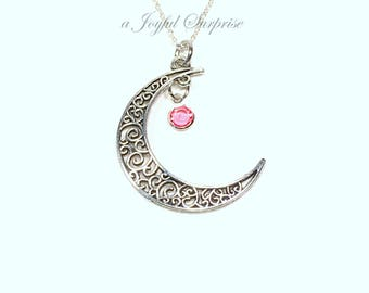 Birthstone Moon Necklace, Crescent Moon Jewelry, Pewter Large Half Celestial Gift, Silver Filigree Charm with Personalized Long big her sale