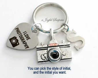 Photographer's KeyChain, Camera Key chain, Gift for Photography Student, Graduation Keyring I love Photography initial letter custom men
