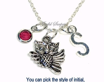 Silver Owl Necklace, Flying Owl Jewelry, Bird Charm Lover Gift girl Birthday Present customized personalized initial birthstone teacher her