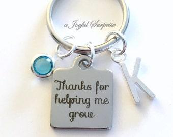 Thanks for helping me grow Keychain Teacher Key Chain Gift for daycare provider nanny Advisor Keyring, Birthday Present Initial custom