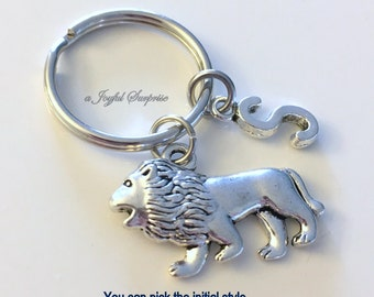 Lion KeyChain Lion Keyring Animal Key chain Pendant Jewelry charm Personalized Initial Lioness birthday present Christmas Gift boyfriend
